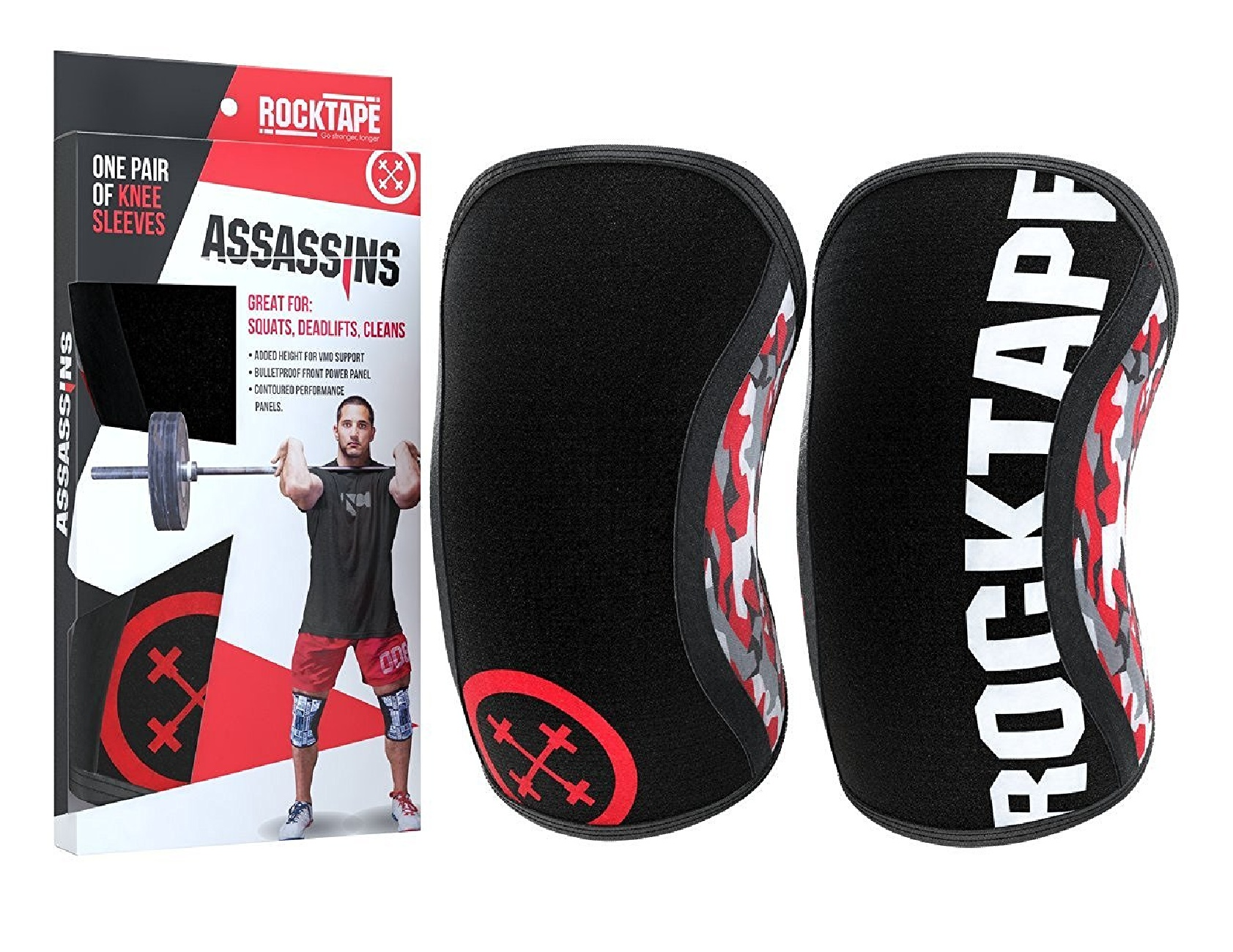 Rocktape Assassins Knee Sleeves and Protectors Red Camo