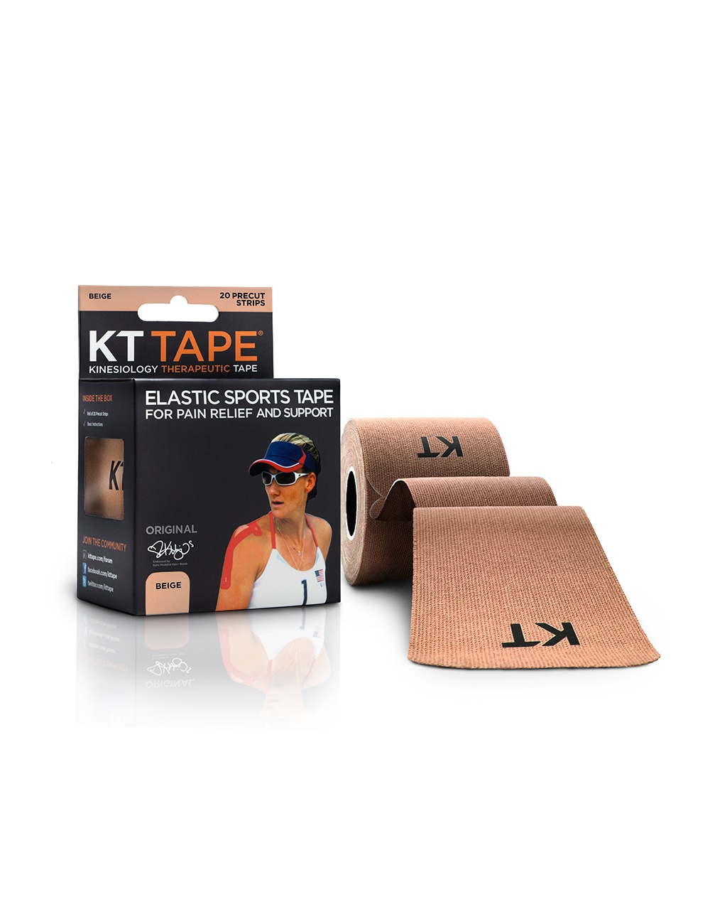 KT Tape Original Cotton 20 Precut Strips - Beige