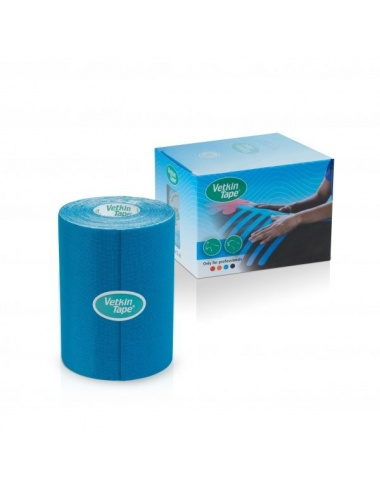 "VetkinTape Kinesiology Tape 4"" Roll and Box Blue TN"