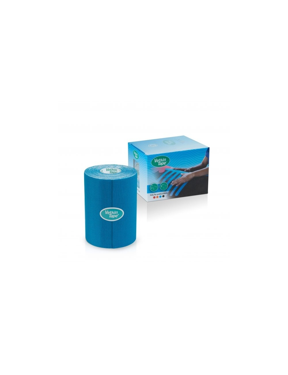 "VetkinTape Kinesiology Tape 4"" Roll and Box Blue"