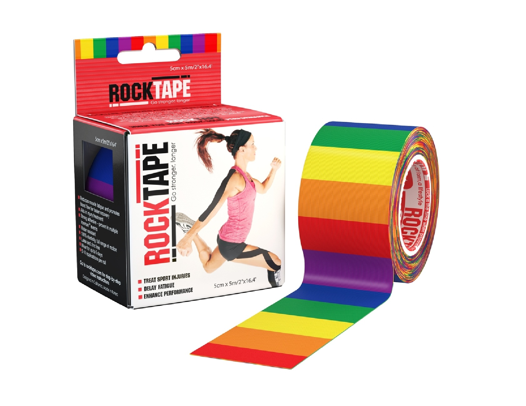 "RockTape 2"" Wide Single Roll And Cardboard Dispenser Box Rainbow Base Image"