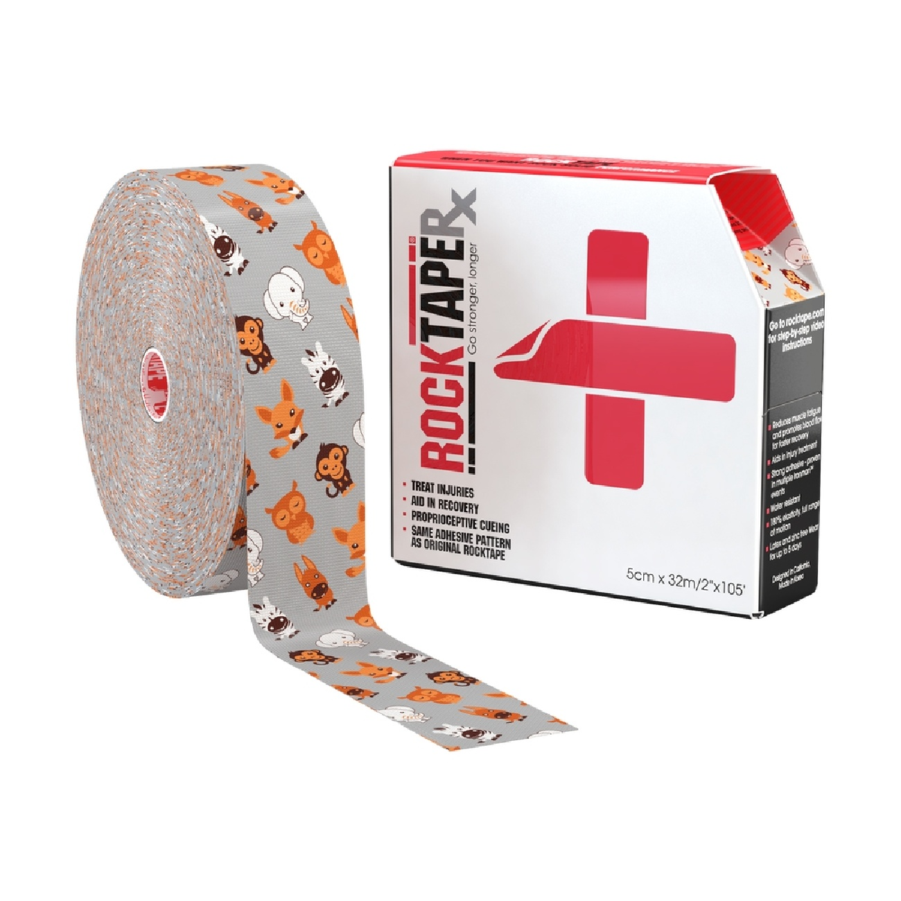 RockTape Rx Pediatric Bulk Roll Zoo Animals 1000pix