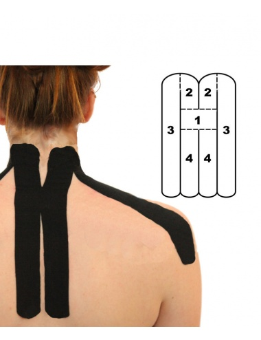 Kindmax Precut Neck Kinesiology Tape - Black