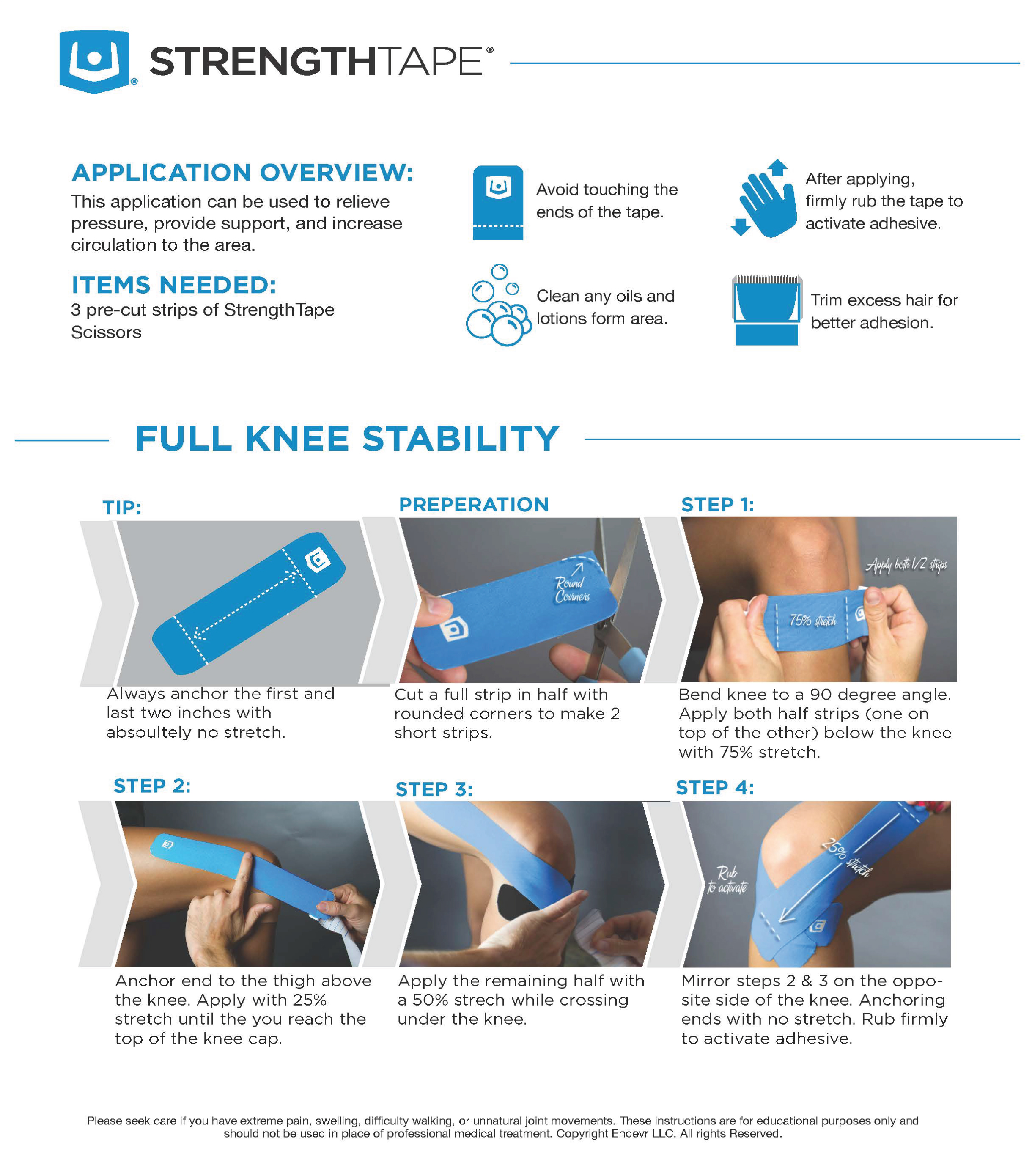 StrengthTape Knee Stability Taping Instructions