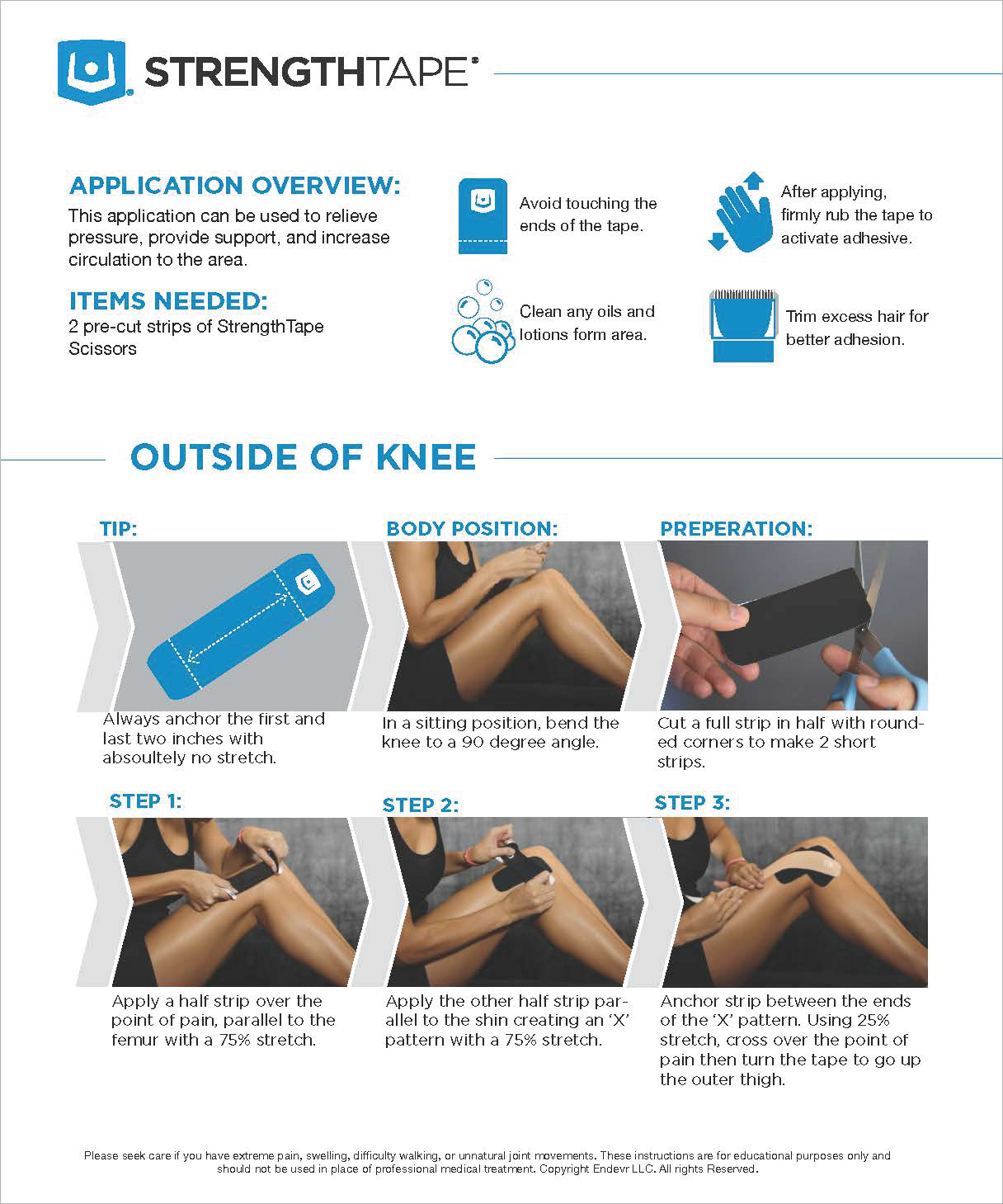 StrengthTape Outer Knee Taping Instructions
