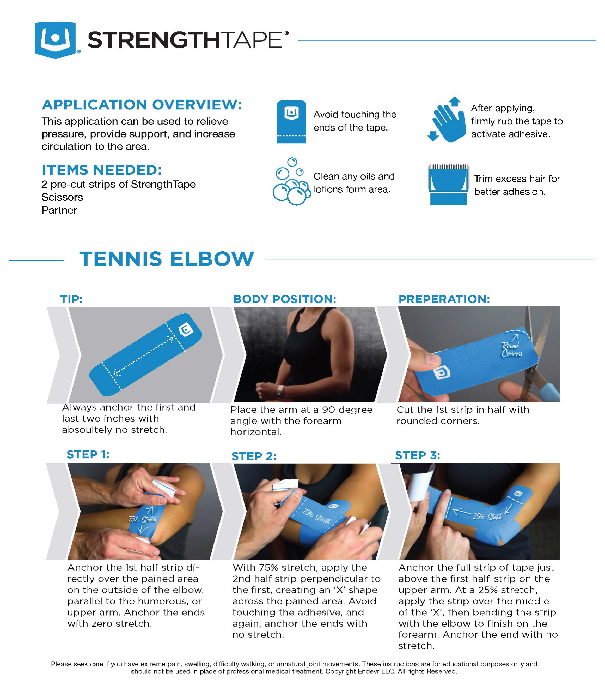 StrengthTape Tennis Elbow Taping Instructions